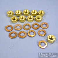 10 Leviton 1/2-13 Brass Hex Nut and 1/2 Copper Lockwasher for 16 Series Threaded Stud Panel Receptacle A0009