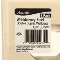 6 Amerelle Ivory Steel 2-Gang Standard Duplex Receptacle Wallplates C971DDIVVP