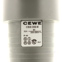 New CEWE Gray Pin and Sleeve Receptacle w/Blue Lid 32A 200-250V 6H IP44 CSG232-6