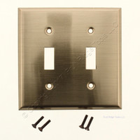 "Creative Accents Brass Finish Steel 2G Toggle Wallplate 4.5""H x 4.5""W 9AB102"