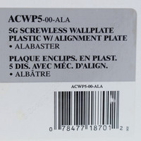 Leviton 5-Gang Alabaster White Acenti Screwless Snap-On Wallplate Cover Plastic w/ Alignment Plate ACWP5-ALA