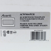 Leviton Chrome Acenti 4-Gang Screwless Snap-On Outlet Switch Wallplate Cover w/ Alignment Plate ACWM4-PCH