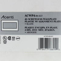 Leviton 4-Gang Slate Acenti Screwless Snap-On Wallplate Cover Plastic w/ Alignment Plate ACWP4-SLT