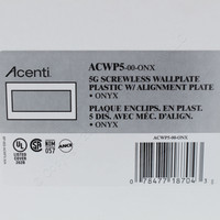 Leviton 5-Gang Onyx Black Acenti Screwless Snap-On Wallplate Cover Plastic w/ Alignment Plate ACWP5-ONX