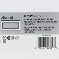 Leviton 5-Gang Quartz Acenti Screwless Snap-On Wallplate Cover Plastic w/ Alignment Plate ACWP5-QTZ