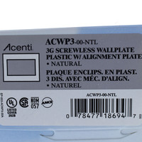 Leviton 3-Gang Natural Acenti Screwless Snap-On Wallplate Cover Plastic w/ Alignment Plate ACWP3-NTL