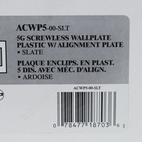 Leviton 5-Gang Slate Acenti Screwless Snap-On Wallplate Cover Plastic w/ Alignment Plate ACWP5-SLT