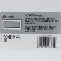 Leviton 5-Gang Natural Acenti Screwless Snap-On Wallplate Cover Plastic w/ Alignment Plate ACWP5-NTL