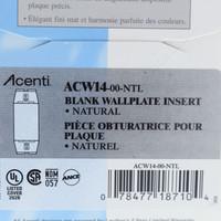 New Leviton Acenti Natural 1-Gang Blank Wallplate Cover Insert Plastic ACW14-NTL