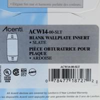 New Leviton Acenti ARDOISE Slate 1-Gang Blank Wallplate Cover Insert Plastic ACW14-SLT