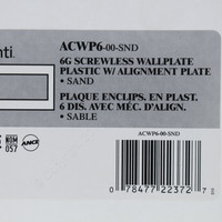 Leviton 6-Gang Sand Acenti Screwless Snap-On Wallplate Cover Plastic w/ Alignment Plate ACWP6-SND