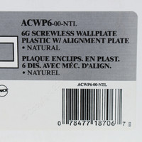 Leviton 6-Gang Natural Acenti Screwless Snap-On Wallplate Cover Plastic w/ Alignment Plate ACWP6-NTL