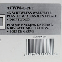 Leviton 6-Gang Driftwood Acenti Screwless Snap-On Wallplate Cover Plastic w/ Alignment Plate ACWP6-DFT