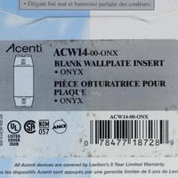Leviton Acenti Onyx Black 1-Gang Blank Wallplate Cover Insert Plastic ACW14-ONX