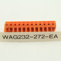 10 Wago Orange 12-Pole THT Angled Female Headers 0.6 x 1.0mm Solder Pin 232-272