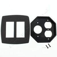 """New Intermatic 2-Gang Waterproof Duplex/Round Receptacle 1-3/8"""" Dia Outlet Insert Plate WP206"""