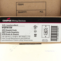 10 Cooper Ivory Hospital Grade GFCI Outlet Receptacles 5-15R 15A 125V VGFH15V