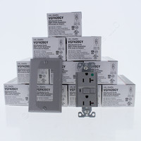 10 New Cooper Gray Hospital Grade LIGHTED GFCI Decorator Receptacle Outlet Straight Blade NEMA 5-20R 20A VGFH20GY