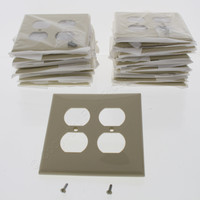 25 Leviton Ivory UNBREAKABLE Receptacle Wallplate 2-Gang Duplex Outlet Covers PJ82-I