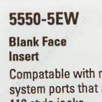 New Eaton White Modular Wallplate Solid Blank One Port Filler Insert 5550-5EW