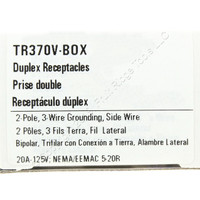 Cooper Ivory Tamper Resistant Grounding Side Wired Duplex Receptacle 20A 125V NEMA 5-20R 2-Pole 3-Wire TR370V