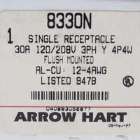 New Arrow Hart Black Single Receptacle Flush Mounted 30A 120/208V 3PH 4P4W 8330N