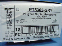 10 Pass & Seymour Gray PLUGTAIL Receptacles Duplex Outlet 20A 125V PT5362-GRY