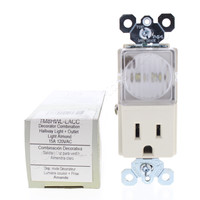 Pass and Seymour Light Almond TAMPER RESISTANT Decorator Receptacle Outlet with LED Guide Light TM8HWL-LACC