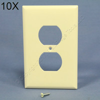 10 Cooper Almond Mid-Size 1-Gang Unbreakable Receptacle Wallplate Outlet Nylon Covers PJ8A