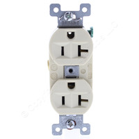 Bryant OLDSTYLE Ivory Heavy Duty Receptacle Duplex Outlet Straight Blade NEMA 5-20R 20A 125V 5352I