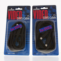 2 Leviton 6 Ft S-Video 4-Pin Cord Cables Super VHS SVHS Male To Male 75-Ohm C5853-6