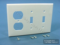 Leviton White UNBREAKABLE 3-Gang Switch/Outlet Wallplate Receptacle Cover Switchplate 80721-W