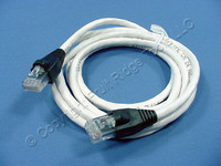 Leviton White Cat 5e 5 Ft Ethernet LAN Patch Cord Network Cable Booted Cat5e 5G455-5W