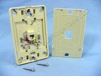 New Leviton Ivory 4-Wire 1-Line Wall Phone Mounting Plate Telephone Jack 40914-I