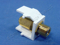 New Leviton White Quickport Gold Coaxial Cable Connector Jack Coax 40831-BW-002