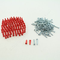 "100PK Metallics 3/16"" Light Duty Red Anchor Kit w/ Pan Head Combo Screw WAK16KIT"