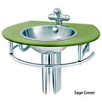 Decolav Sage Green Glass Vanity SS Bowl Sink 2240-1B-SG