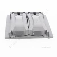 Taymac MX2000 Gray 2-Gang 2-Device Flat Metal Weatherproof Receptacle 25-1 Cover