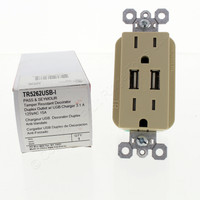 Pass and Seymour Ivory Tamper Resistant Decorator Specification Grade Duplex Outlet w/ USB Charger 15A 125V TR5262USB-I