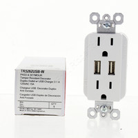 Pass and Seymour White Tamper Resistant Decorator Specification Grade Duplex Outlet w/ USB Charger 15A 125V TR5262USB-W