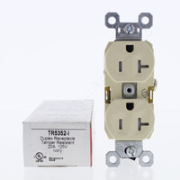 Pass and Seymour Ivory Tamper Resistant Straight Blade Duplex Receptacle NEMA 5-20R 20A 125V 2P3W TR5352-I