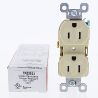 Pass and Seymour Ivory Tamper Resistant High Impact Resistant Duplex Receptacle Outlet NEMA 5-15R 15A 125V 2P3W TR5252-I
