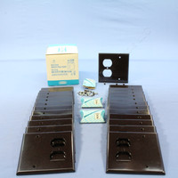 25 Leviton Brown EXTRA DEEP Combination Duplex Receptacle Outlet Cover and Blank Wall Plates 85308