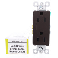 Pass & Seymour Legrand Dark Bronze Tamper Resistant Decorator Receptacle Outlet NEMA 5-15R 15A 125V 885TRDBCC12