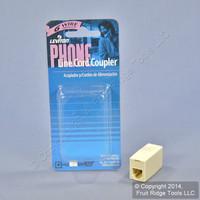 Leviton Ivory In-Line Phone Cord Coupler 6-Wire Modular Telephone RJ11 RJ14 RJ25C2683-I