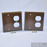 2 Leviton Brown EXTRA DEEP Combination Duplex Receptacle Outlet Cover and Blank Wall Plates 85308