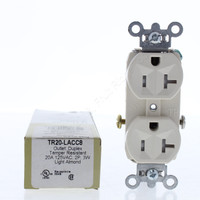 Pass & Seymour Light Almond Straight Blade TAMPER RESISTANT Duplex Outlet Receptacle NEMA 5-20R 20A 125V TR20-LACC8