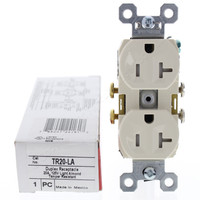 Pass & Seymour Light Almond Straight Blade TAMPER RESISTANT Duplex Outlet Receptacle NEMA 5-20R 20A 125V TR20-LA
