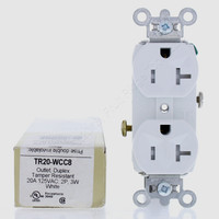 Pass & Seymour White Straight Blade TAMPER RESISTANT Duplex Outlet Receptacle NEMA 5-20R 20A 125V TR20-WCC8