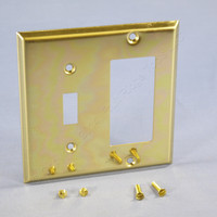 Creative Accents 2-Gang Polished Brass Switch GFCI GFI Cover Decorator Wallplate 9BS126